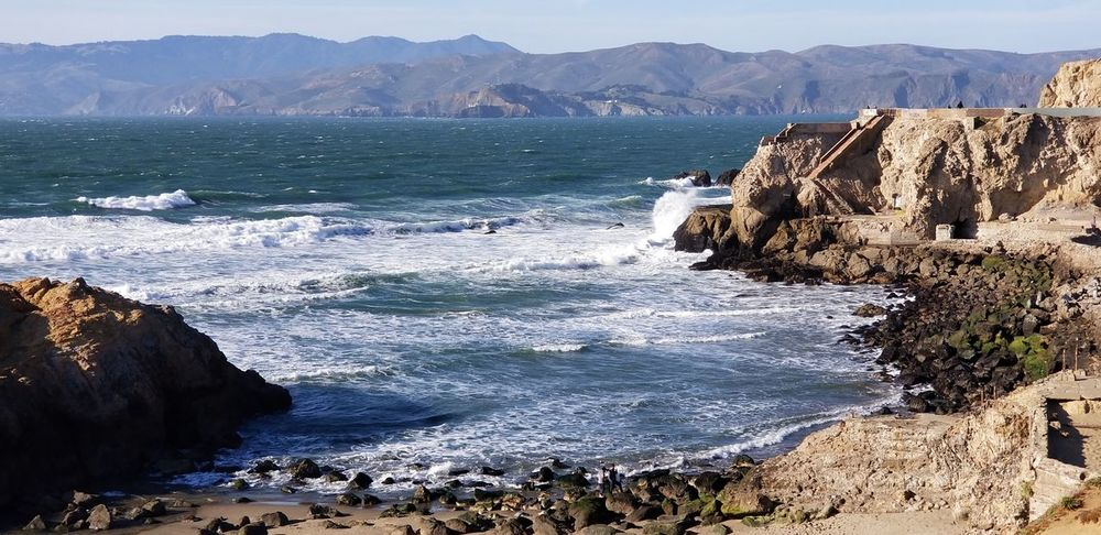 Sutro Baths, pacific ocean and San Marin Sunny Cliff Landmarks Pacific Ocean Sutro Bath Ruins  Beach Sea Water Mountain Sand Landscape Day Nature No People Sunlight Beauty In Nature Horizon Over Water Wave Sky California Dreamin The Great Outdoors - 2018 EyeEm Awards