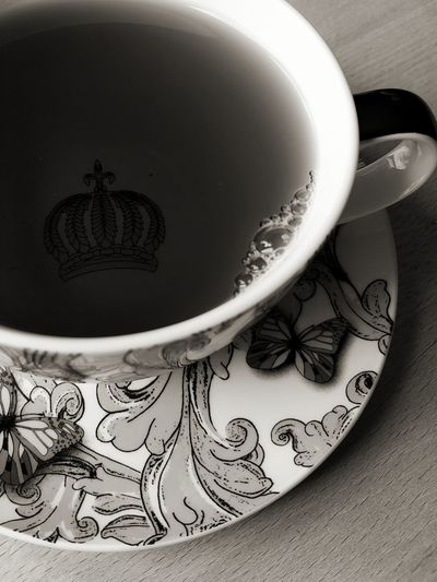 Monochrome Blackandwhite Black And White Black & White Cup Harald Glööckler Relaxing Roccoco Glööckler Crown Close-up Black Tea Tea - Hot Drink Tea Afternoon Tea Tea Cup EyeEmNewHere