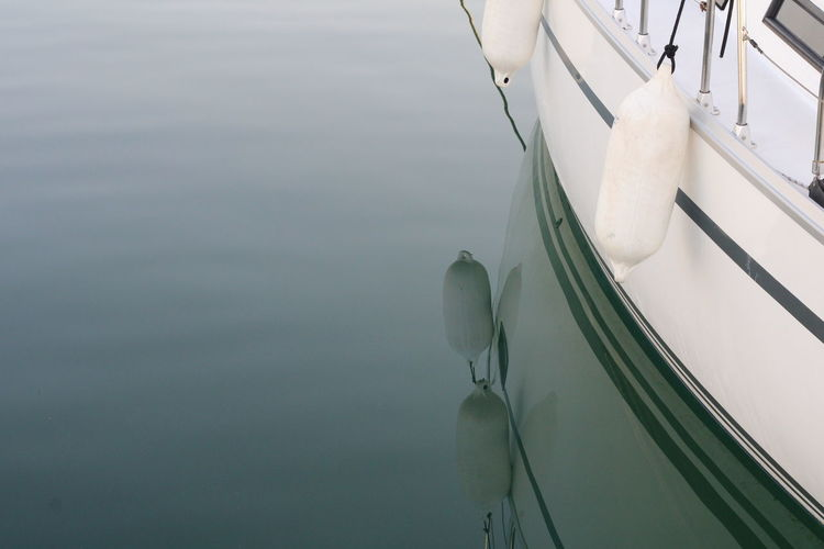 High angle view of white boat in sea