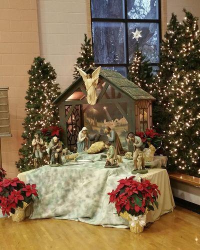 Church under renovation so service was in Parish Hall. Pretty too. Christmas Christmas Decoration Tradition Celebration Window Christmas Lights Holiday - Event NativityScene Church 2016