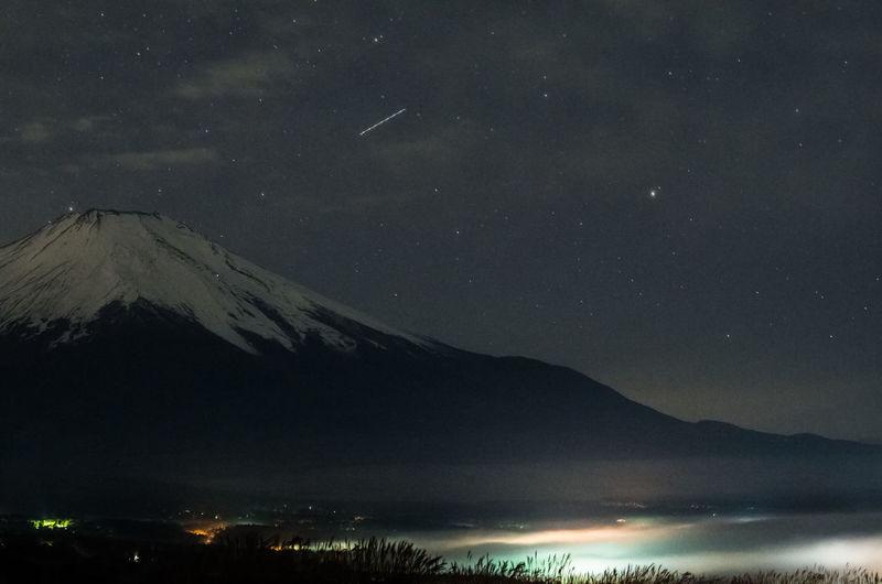 Japan Mikuni-pass Mt.Fuji Stars Yamanaka Lake 三国峠 富士山 山中湖 日本 Fresh On Market 2016