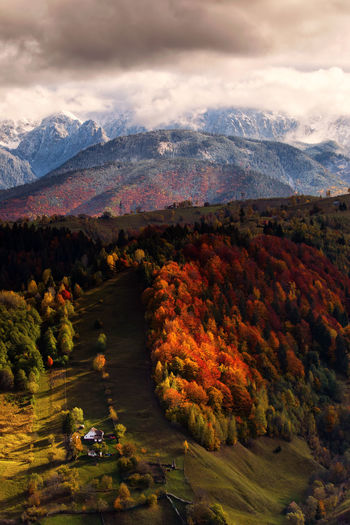 High angle view of landscape during autumn