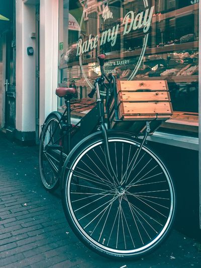 Bicycle Transportation Mode Of Transport Land Vehicle Stationary Text Wheel Outdoors Bicycle Basket Day Architecture No People Building Exterior Bicycle Rack City