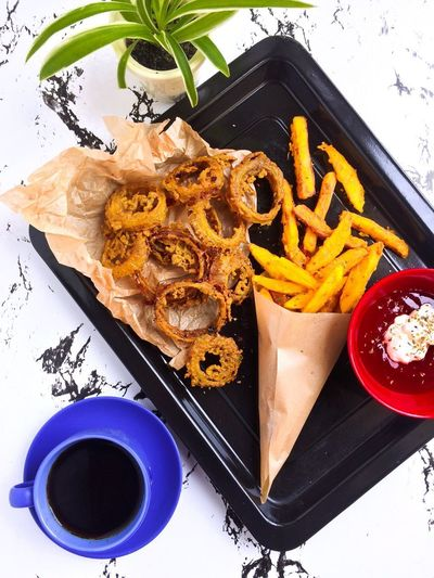 Breakfast Coffee Morning Flatlayphotography French Fries High Angle View Homemade Breakfast Onion Ring Still Life
