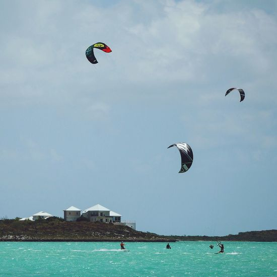 Kiters on Long Bay Beach. Turks And Caicos