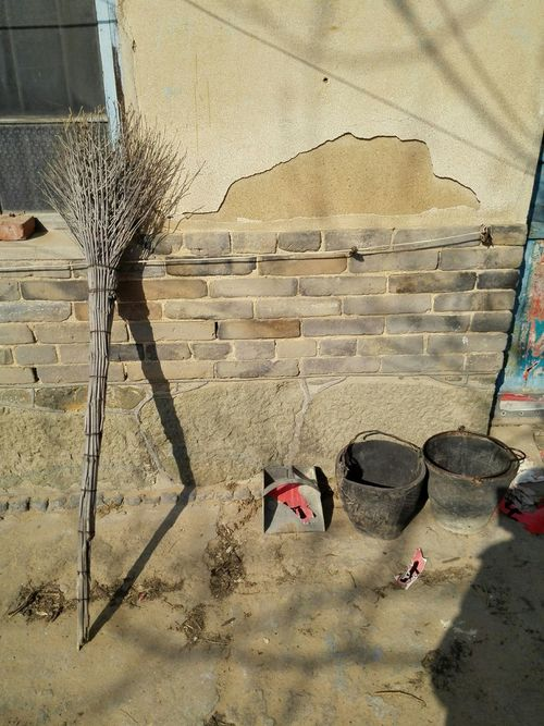 Grandpa's House China Shandong Province Village Life Country Life Traditional Winter Light Broom Broomstick