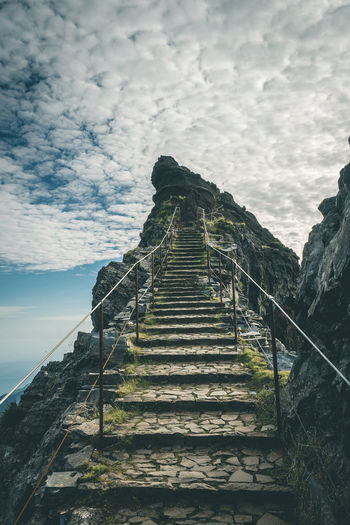 Architecture Staircase Sky Steps And Staircases Built Structure Direction Cloud - Sky Railing Nature Day The Way Forward Low Angle View Outdoors No People Solid History The Past Sea Run-down Rock Ruined Steps Madeira Hiking