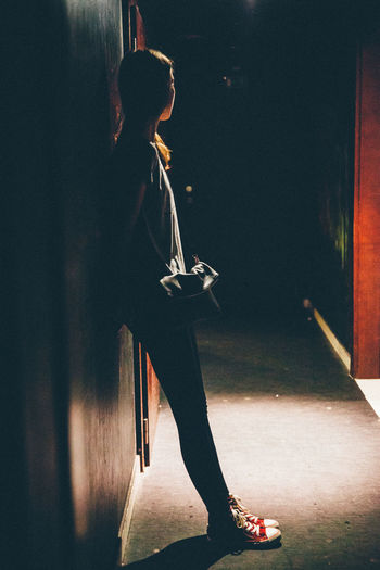 Club Light Night Nightlife Standing Waiting Woman