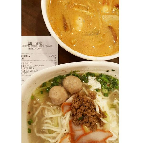 Dinner with bro Tomyam seafood soup & char siew ramen at QQ restaurant Bugis Singapore Food Dinner