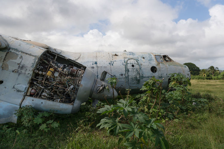 Abonded aeroplane wreck against dramatisch sky
