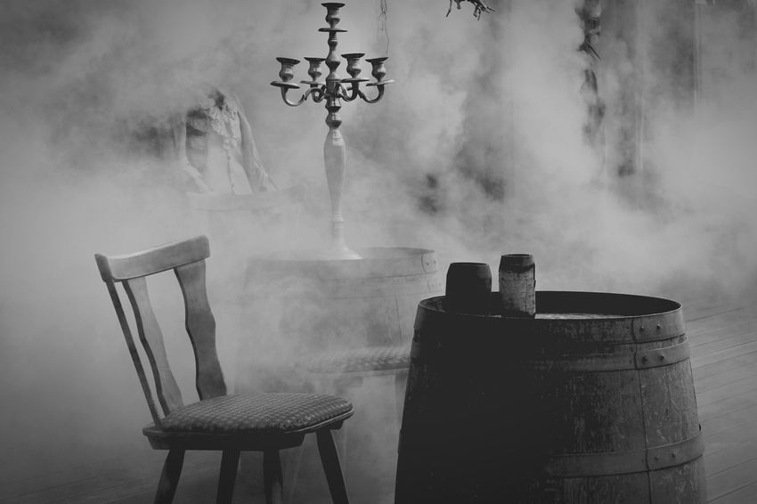 Capture The Moment Monochrome Black And White Photography Vintage Have A Seat Spooky Atmosphere Spooky Empty Chair Foggy Misty