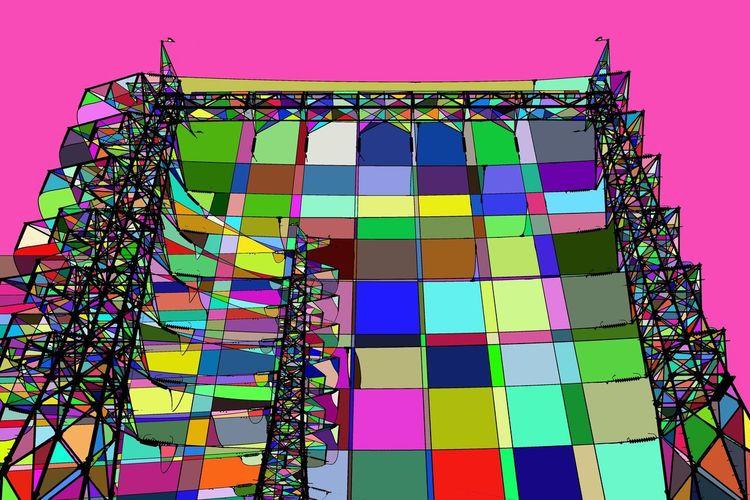 Multi Colored Technology Purple Sky Architecture
