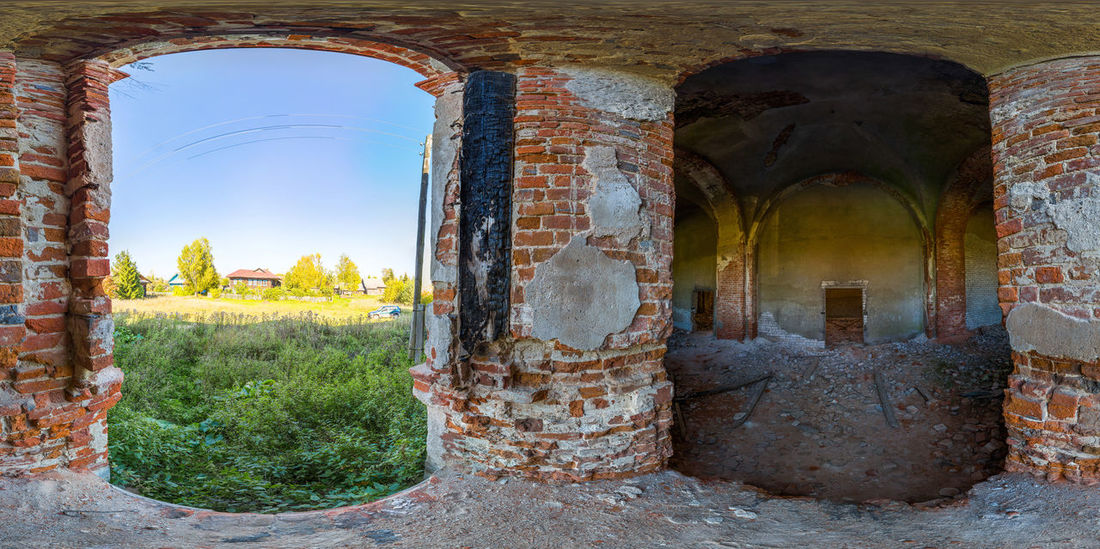 Abandoned church in the village Trestna. Part of my spherical panorama 360 degree, full virtual panorama view here - https://www.360cities.net/image/churchtrestna3 360 Degree Rainbow Abandoned Abandoned Church Architecture Beauty In Nature Brick Wall Church Day Incomprehensible Landscape No People Outdoors Russia Spherical Trestna