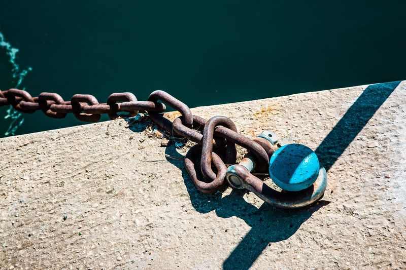 High angle view of chain on promenade