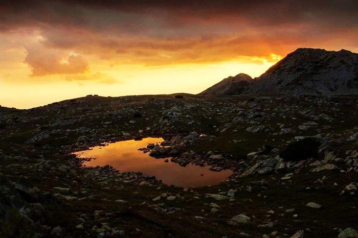 Sunset Mountain Dramatic Sky Landscape Volcano Cloud - Sky Scenics