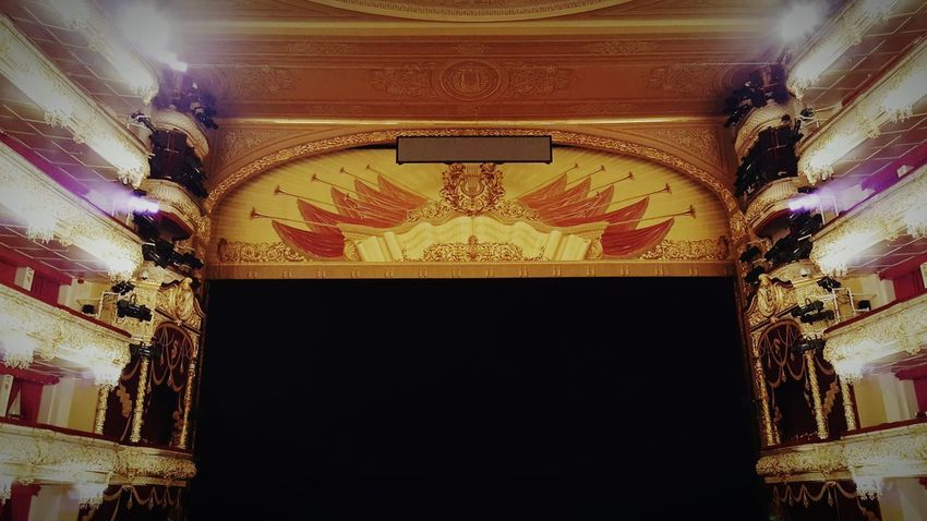 Indoors  Arts Culture And Entertainment Architecture Gold Colored Curtain Built Structure No People Stage Theater Moscow Russia Communist Architecture Communist Era Travel Destinations Social Life Theater Theatre Stage Stage - Performance Space Seats Royal Box Bolshoi Theater Bolshoi Theatre