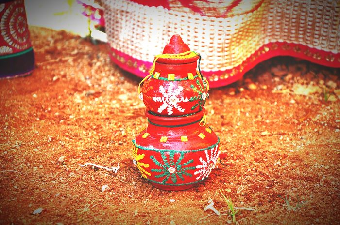 Kalash Spritualart Multi Colored No People Focus On Foreground Beauty In Nature Colours Colourful Art, Drawing, Creativity Artistic Artistic Photo Pot Small Pot White Color Yellow Color Sand Redcolour