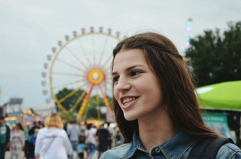 Ferris Wheel Amusement Park Headshot Smiling Enjoyment Leisure Activity Happiness Cheerful Day Freedom Daydreaming Beauty In Nature Lost In Thought... Motion Multi Colored Spirituality Sun Summer Lovephotography  Free Spirit Arts Culture And Entertainment