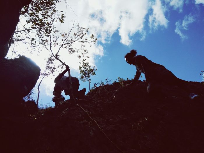 rappeling at the summit Silhouette People Summit Hike Mountain Cloud - Sky Nature Go Higher