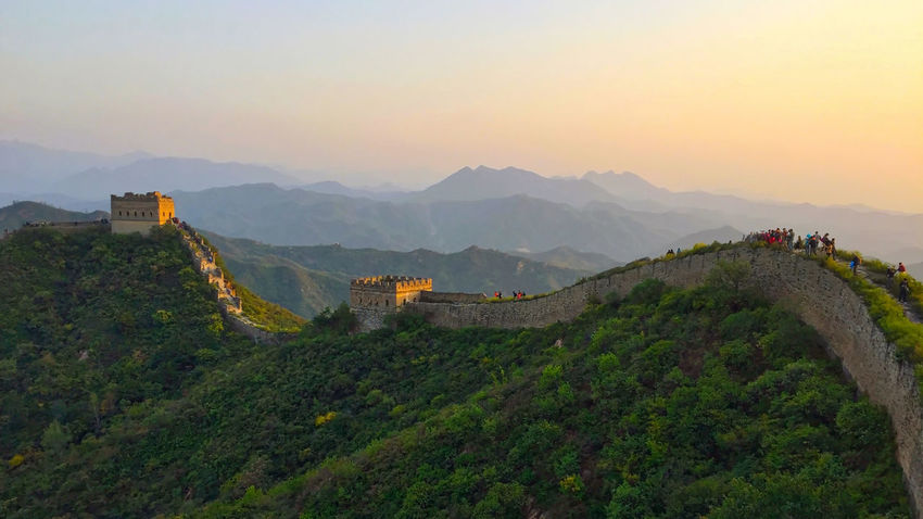 Architecture Beijing, China Famous Place Great Wall Of China Mountain Sunset