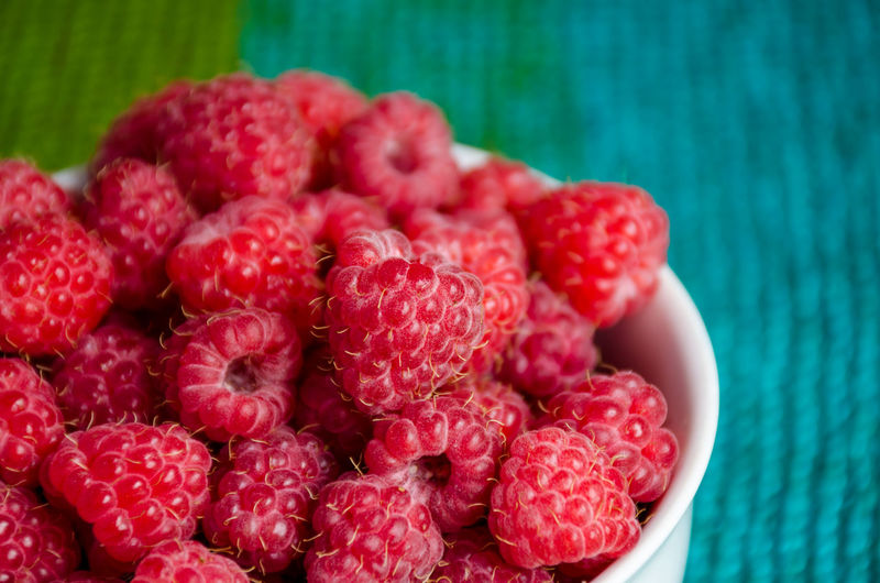 Close-up of raspberries in bowl