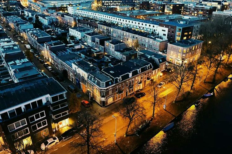Cityscape Aerial View City High Angle View Building Exterior Architecture Outdoors Urban Road No People Night Light In The Darkness Yellow Canel Water Architecture Built Structure Nature Capture The Moment