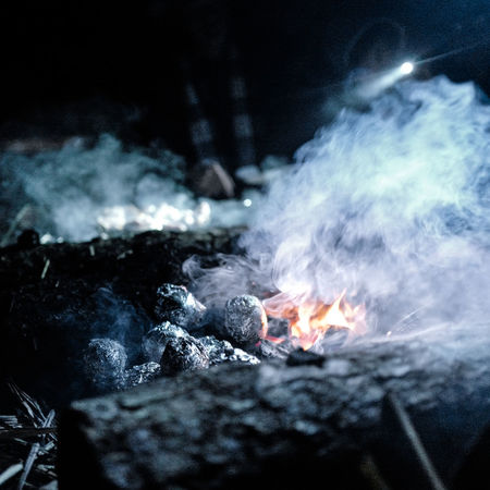 . Potatoes smoked. Burning Camping Close-up Cooking Fire Firecamp Firecampinthenight Flame Glowing Heat - Temperature Night Potatoes Smoke Smoke - Physical Structure