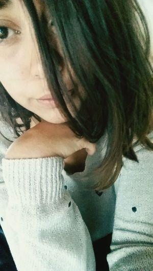 Hand Hair Short Argenté Girl Heart Blue