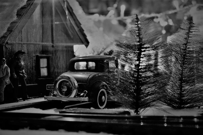 Urban cowboy 1940s Cowboy Miniatures People Watching Black And White Collection  Building Exterior Car Close-up Creaivity Hand Made Hobbies Land Vehicle Miniature Car Miniature Town Mode Of Transport Tiny Town Train Layout Transportation