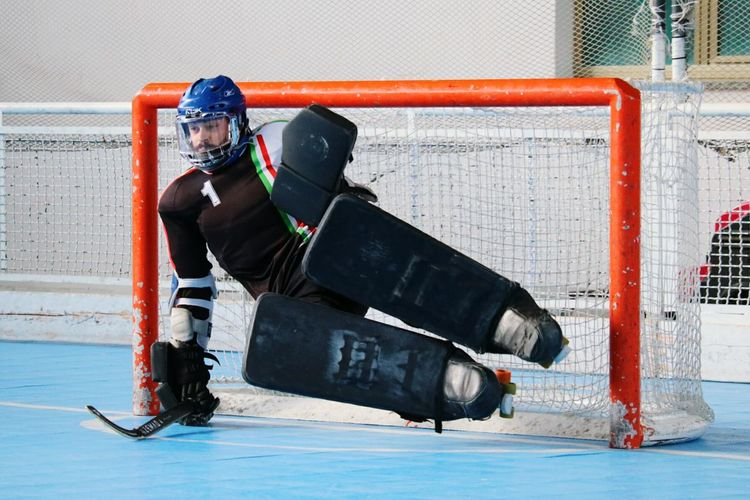 Portiere Portier Player Hockey Hockey Players Hockey Pista Goal Sport Sports Training Only Men Determination Athlete Practicing Workout WORKHARD Patins Hoquei Patins Game Gym Training