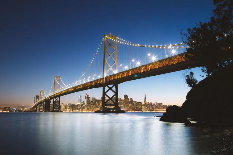View of suspension bridge at dusk