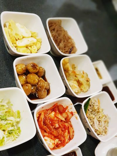 unli korean side dish😍😋 Breakfast Kimchi♥ BabyPotatoes Coleslaw Egg Sidedish Korean Food Variation Bowl High Angle View Close-up Food And Drink
