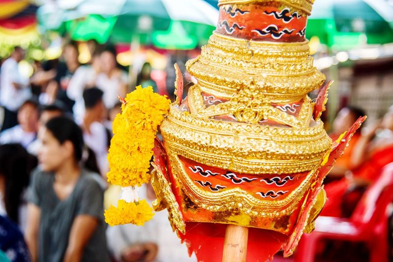 Thailand Mask Khon Mask Believe Thailand Mask Focus On Foreground Close-up Celebration Incidental People Representation Art And Craft Gold Colored