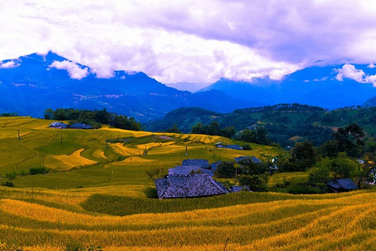 Field Landscape Photography Sky And Clouds Landscape Mountain Outdoor Outdoors Village