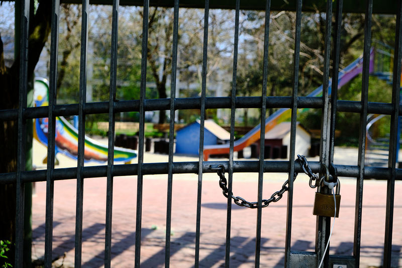 Metal fence in park