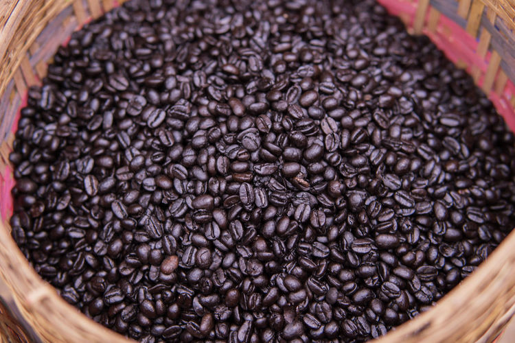 Close-up of coffee beans in basket
