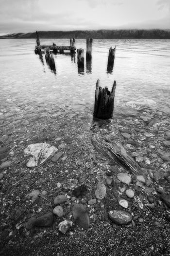 B&w Beach Beauty In Nature Black And White Day Horizon Over Water Lake Wakatipu, NZ Monochrome Nature No People Old Wharf Orton Effect Outdoors Queenstown Nz Scenics Sky Tranquility Water Wharf Wide Angle