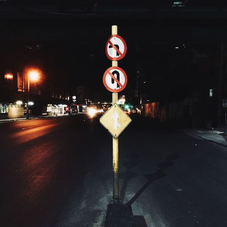 Sign Illuminated Night City Transportation Architecture Street Road Sign Road Sign No People Direction Communication