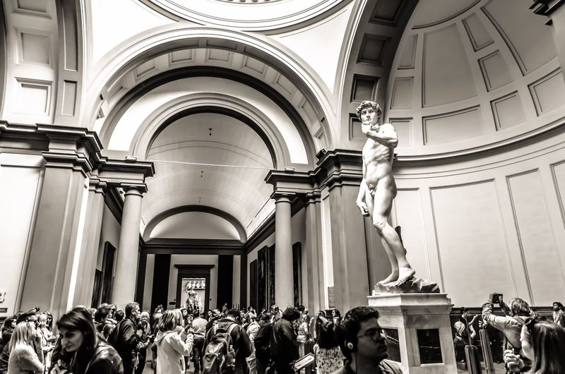 The enduring pull of Michelangelo's David. Michelangelo Accademia David The David Art Gallery Marble Sculpture Art Renaissance Tourists Crowds Of People Sculpture Monochrome Black And White Galleria Dell'accademia Florence Accademia Gallery Firenze Masterpiece High Renaissance Famous ArtWork People Old Testament Bible Story Biblical