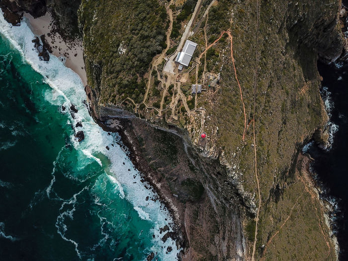 Cape point. Cape Town. Cape Town Cape Point Lighthouse Redroof Sea Shore Waves Crashing Cliffe Mountain Rocks Rock Drone  Drone Dji Dronephotography Backgrounds Full Frame Textured  Close-up