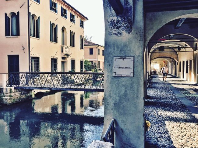 Buranelli My Favorite Place Taking Photos Check This Out Peaceful Bridge Architecture Water Reflections Water Portici Arches Treviso IPhoneography Taking Photos Old Town Walking Around Italy Veneto Italy Veneto Treviso, Italy Canal