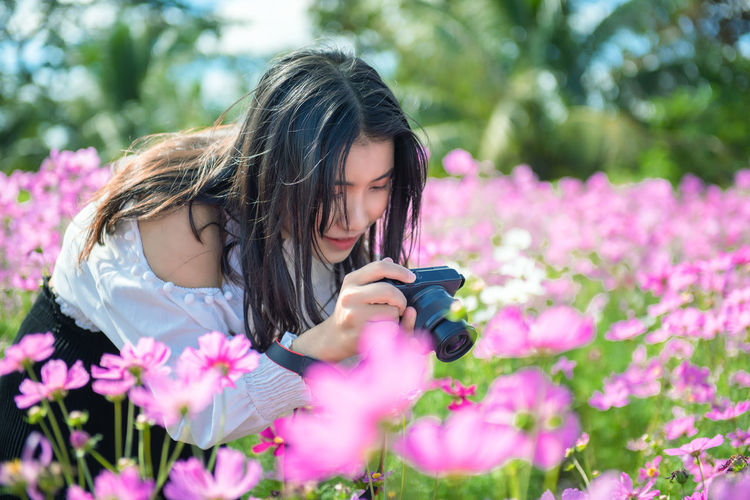 Beautiful girl take a photo to cosmos flower in garden. Woman Camera Take A Photo Beautiful Beauty Camera Colorful Cosmos Digital Female Field Flower Fresh Fun Garden Green Hands Lifestyle Light Nature Outdoor People person Photo Photographer Photography Picture Relax Summer Take Taking  Technology Tourism Tourist Travel Smile Garden Park Relax Relaxation