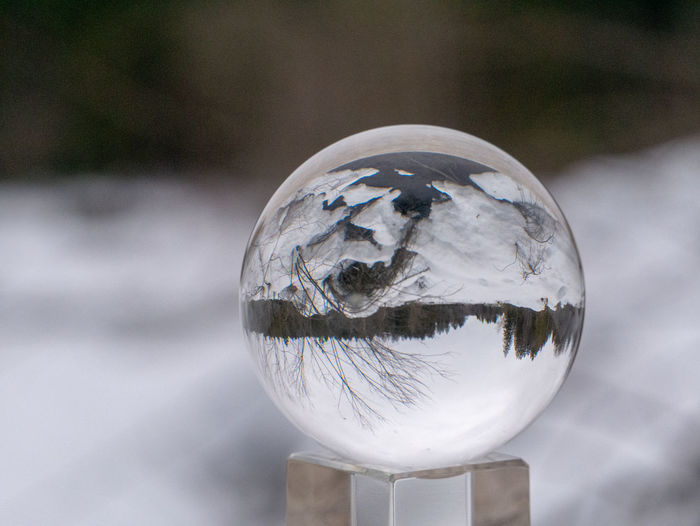 Sphere Reflection Transparent Close-up Glass - Material No People Focus On Foreground Shape Nature Crystal Ball Geometric Shape Ball Day Outdoors Circle Design Single Object Crystal Sky Shiny