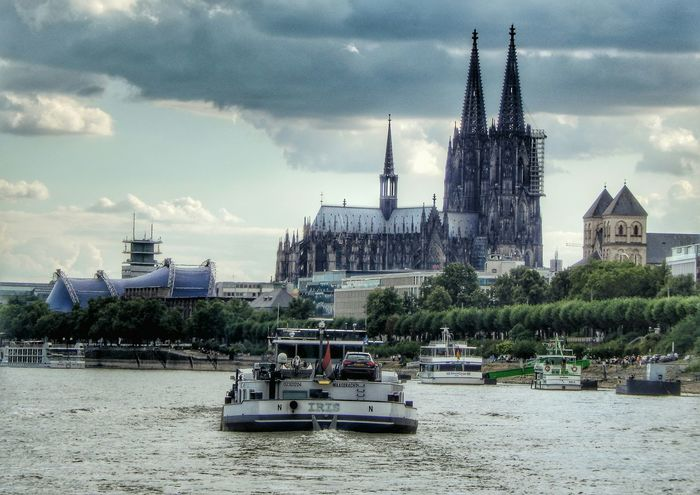 Over The Rhine Kölner Dom Boats Chruch Cathedral Hdr_Collection Schifffahrt Musical Theatre Church Rhine
