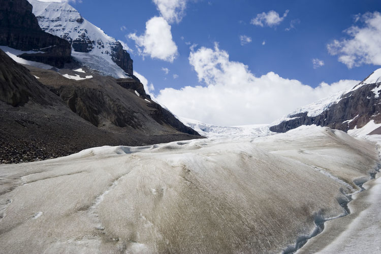 global warming and melting glaciers in the rockies - columbia icefield, jasper national park, canada Beauty In Nature Canada Climate Change Cold Temperature Columbia Icefield Environment Environmental Issues Frozen Glacial Glacier Global Warming Ice IceField Jasper National Park Landscape Low Angle View Melting Mountain Mountains Nature No People Rocky Mountains Scenics Snow Water