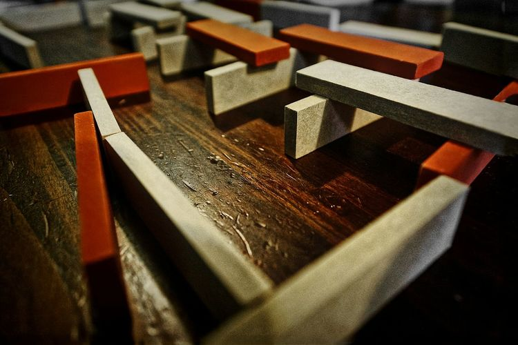Wooden slabs on table
