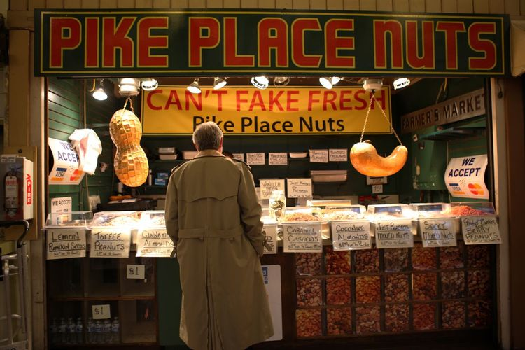 PikePlaceMarket Text Rear View Real People Food And Drink Retail  Food Outdoors Fashion Stories EyeEmNewHere EyeEmNewHere