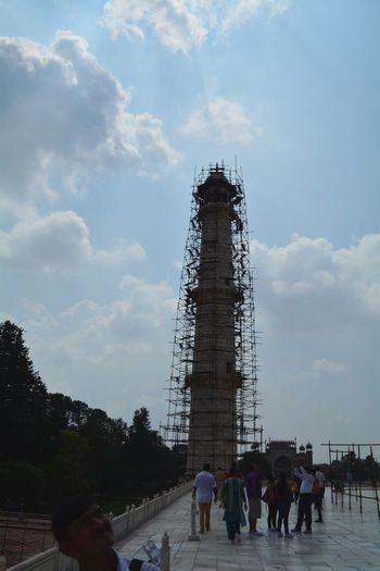 The Taj Mahal Historical Monuments Taj Mahal Minaret Minaret Under Renovation Monument Renovation Renovation Agra India