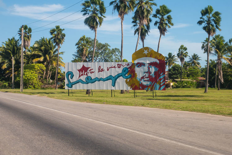 Cuba Propaganda Beauty In Nature Carribean Communication Day Grass Growth Landscape Nature No People Outdoors Palm Tree Road Scenics Sky The Way Forward Tranquil Scene Transportation Tree