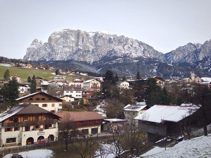 Houses With Mountain In Background